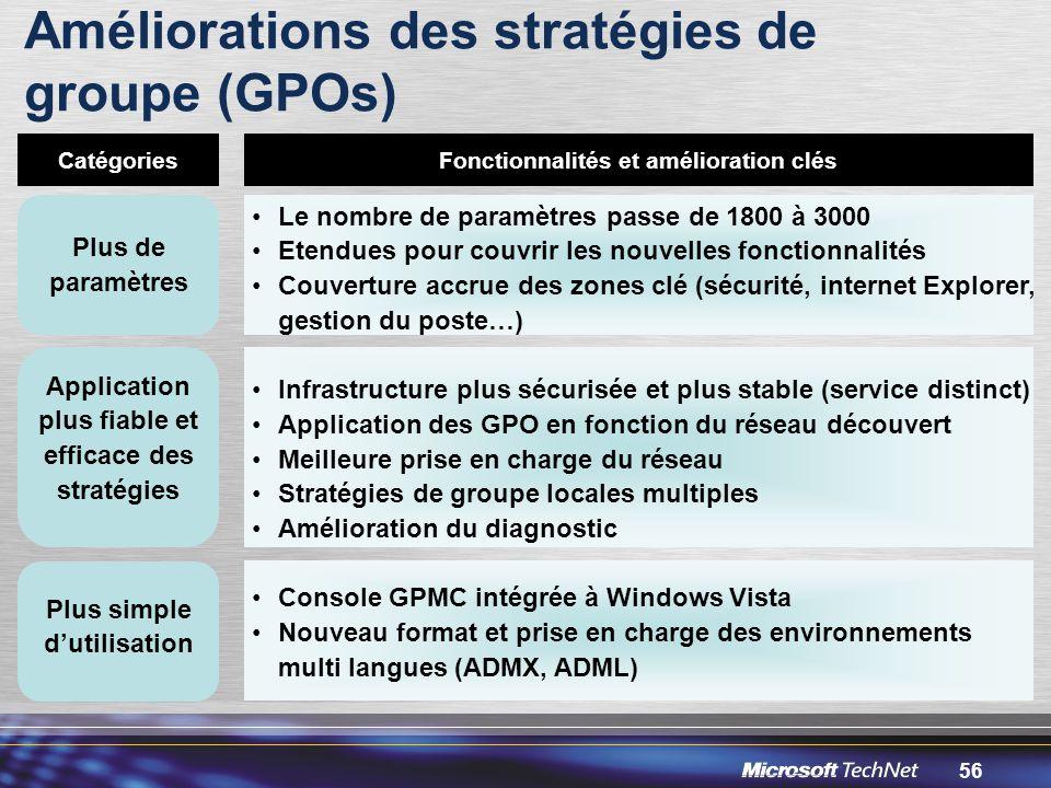 Améliorations des stratégies de groupe (GPOs)