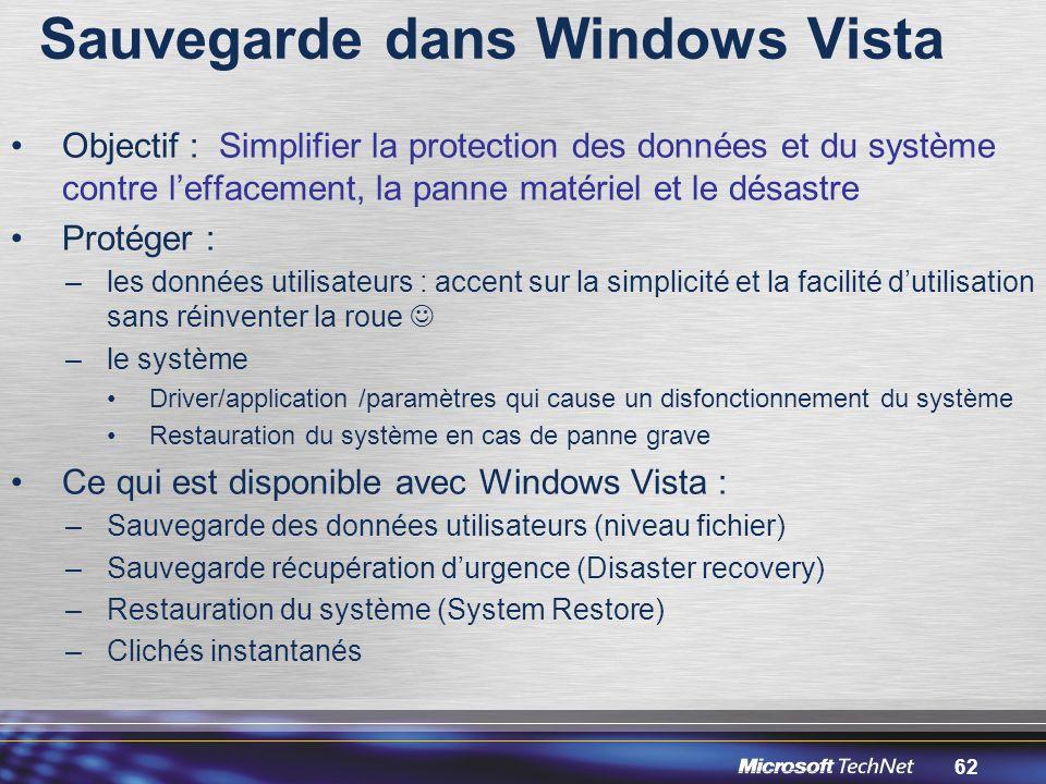 Sauvegarde dans Windows Vista
