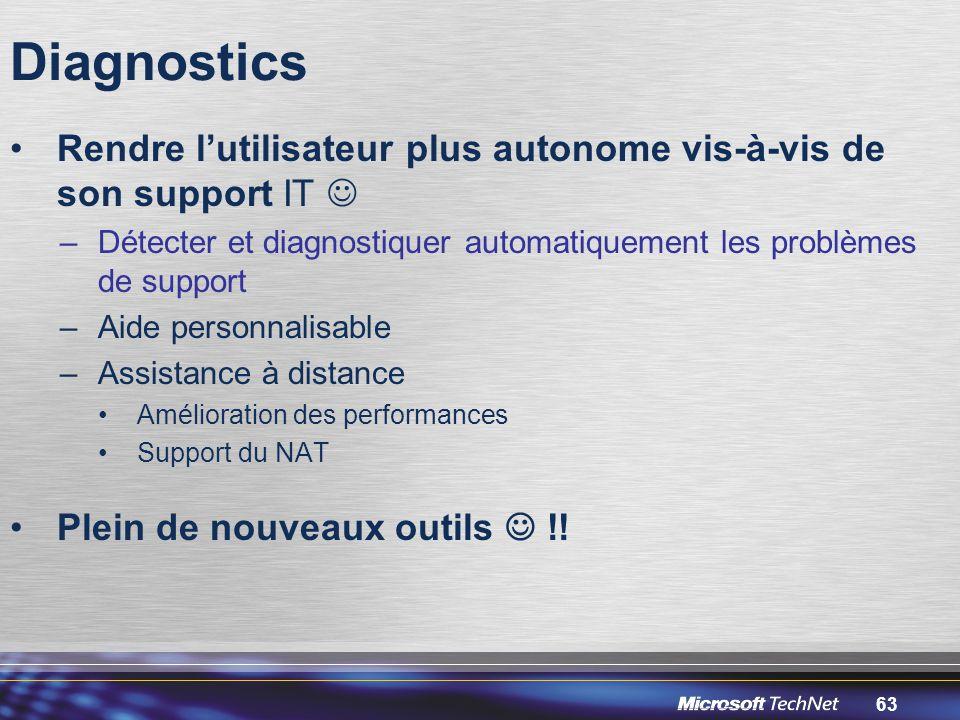 Diagnostics Rendre l'utilisateur plus autonome vis-à-vis de son support IT  Détecter et diagnostiquer automatiquement les problèmes de support.