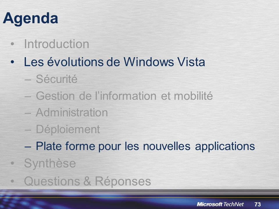 Agenda Introduction Les évolutions de Windows Vista Synthèse