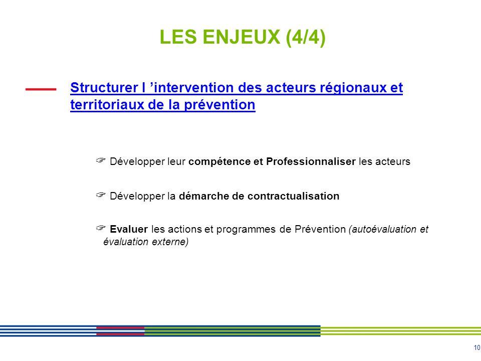 LES ENJEUX (4/4) Structurer l 'intervention des acteurs régionaux et territoriaux de la prévention.