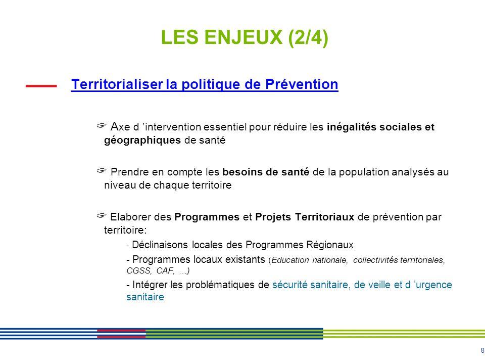 LES ENJEUX (2/4) Territorialiser la politique de Prévention
