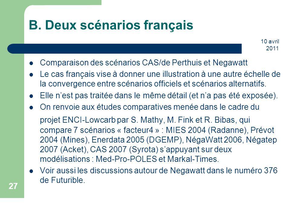 B. Deux scénarios français