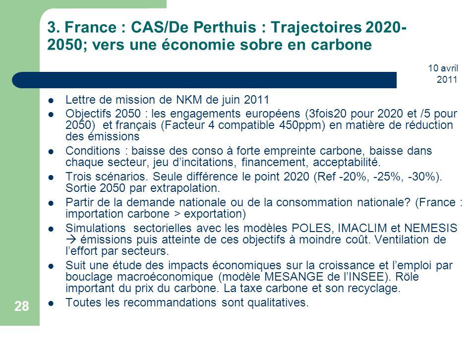 3. France : CAS/De Perthuis : Trajectoires 2020-2050; vers une économie sobre en carbone