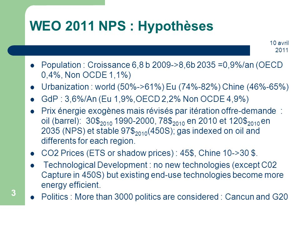 WEO 2011 NPS : Hypothèses 10 avril 2011. Population : Croissance 6,8 b 2009->8,6b 2035 =0,9%/an (OECD 0,4%, Non OCDE 1,1%)
