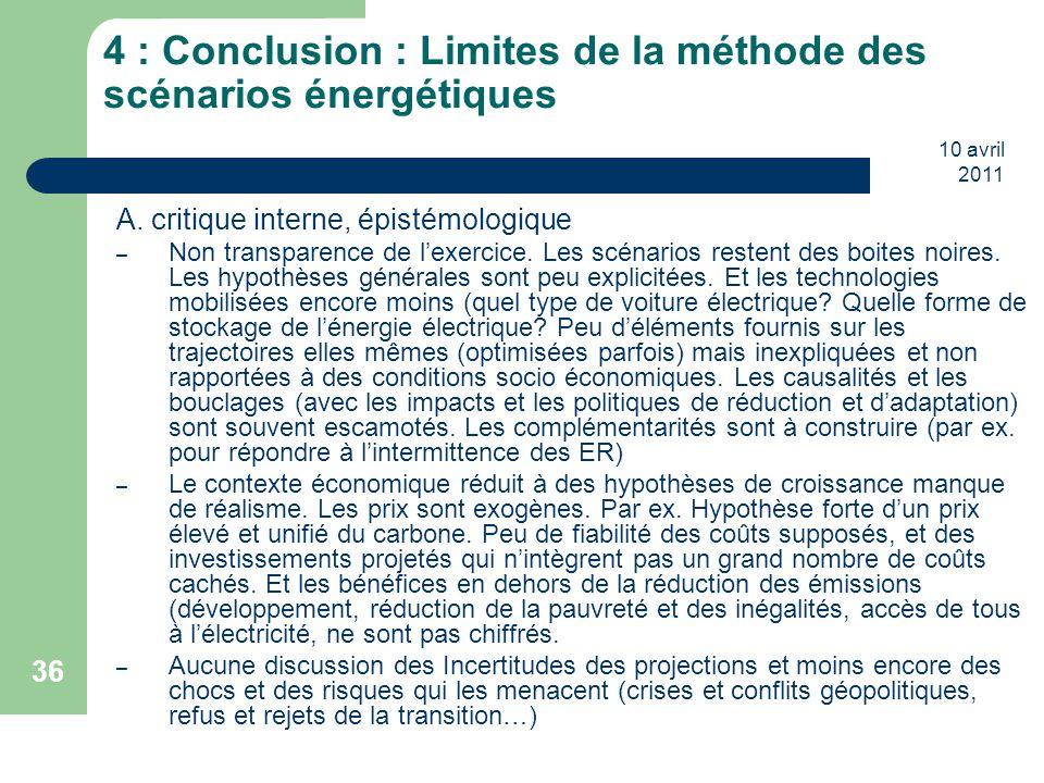 4 : Conclusion : Limites de la méthode des scénarios énergétiques