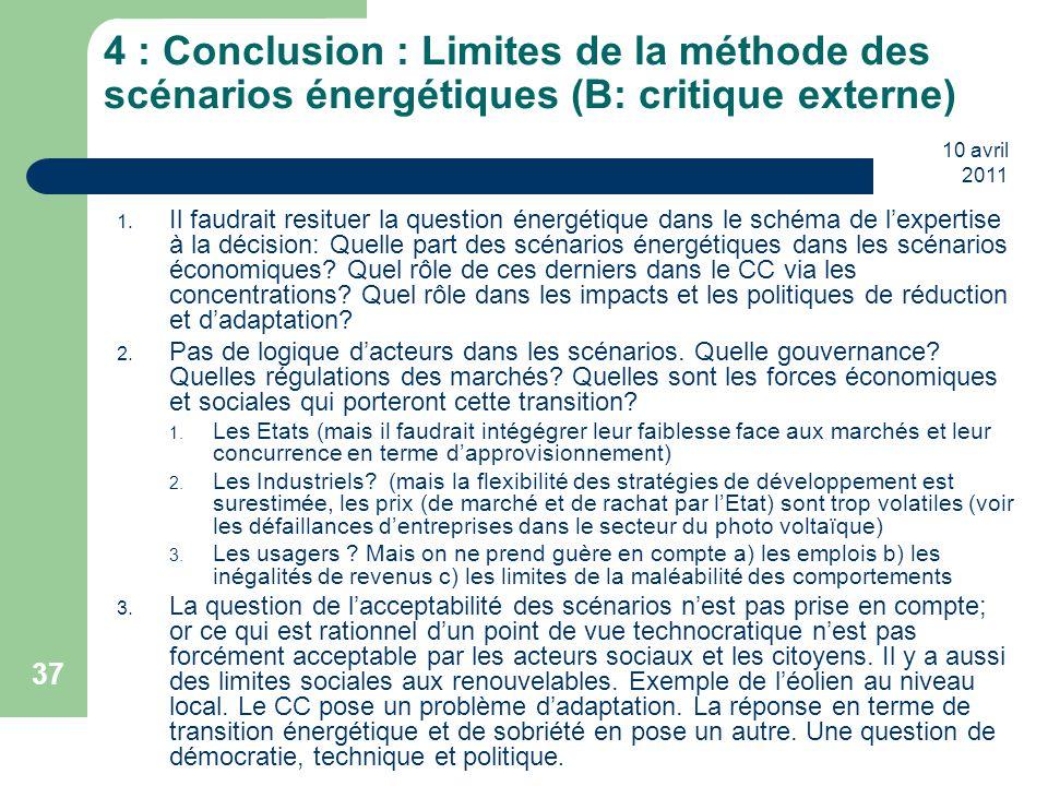 4 : Conclusion : Limites de la méthode des scénarios énergétiques (B: critique externe)