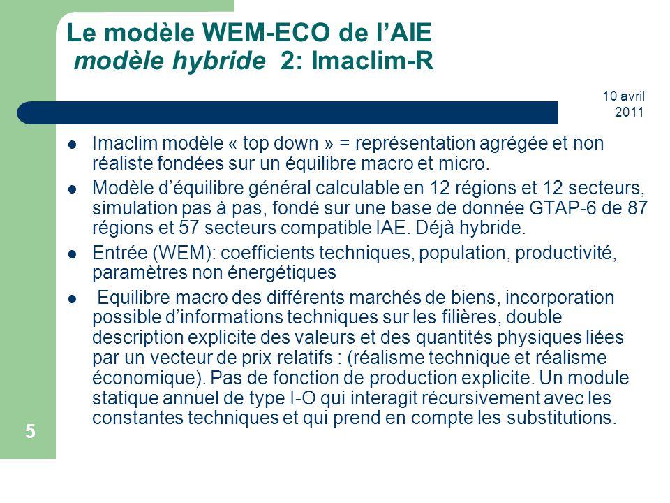 Le modèle WEM-ECO de l'AIE modèle hybride 2: Imaclim-R