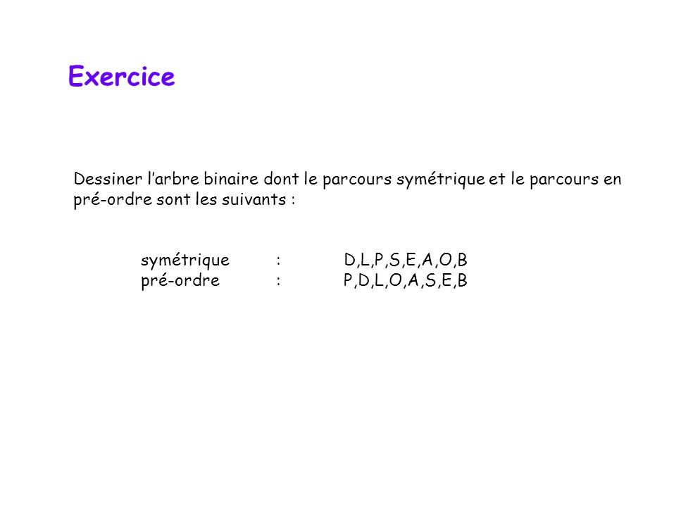 Exercice Dessiner l'arbre binaire dont le parcours symétrique et le parcours en. pré-ordre sont les suivants :