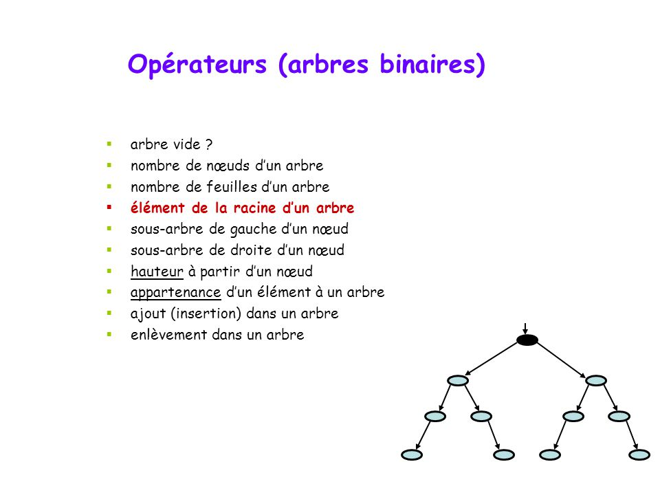 Opérateurs (arbres binaires)