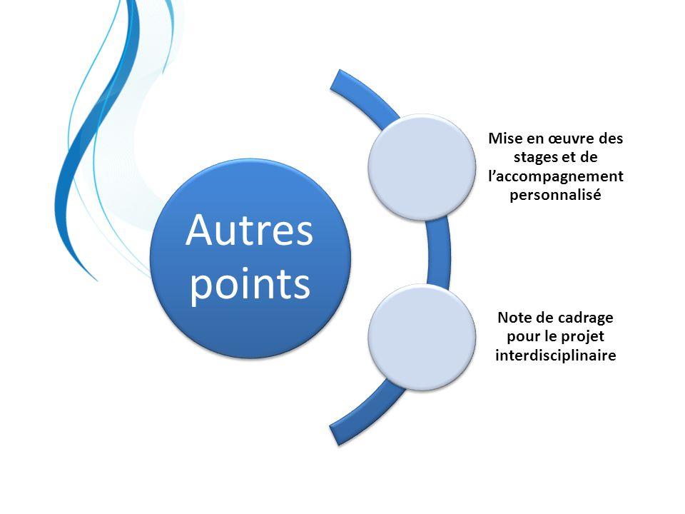 Autres points Mise en œuvre des stages et de l'accompagnement personnalisé.