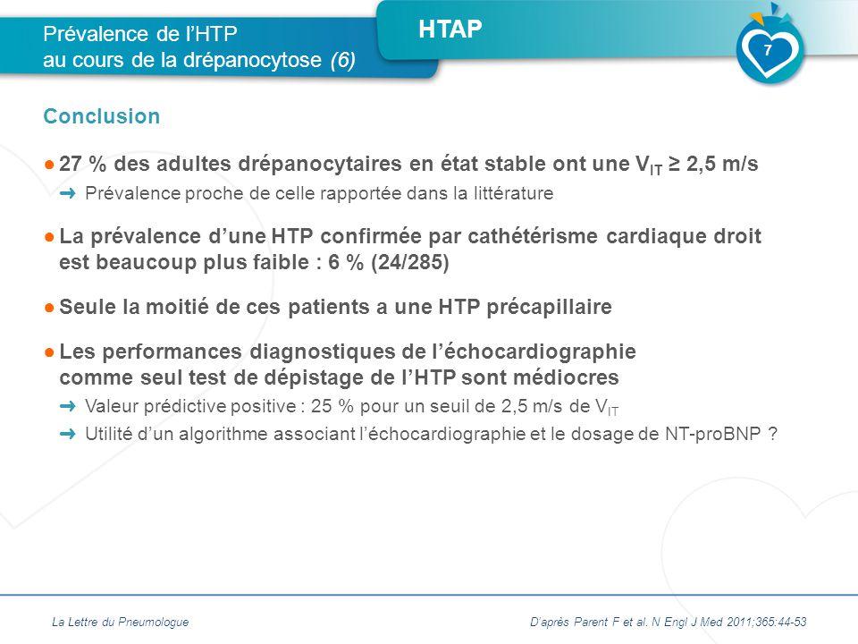 Prévalence de l'HTP au cours de la drépanocytose (6)