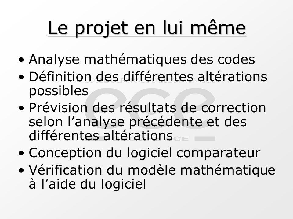 Le projet en lui même Analyse mathématiques des codes