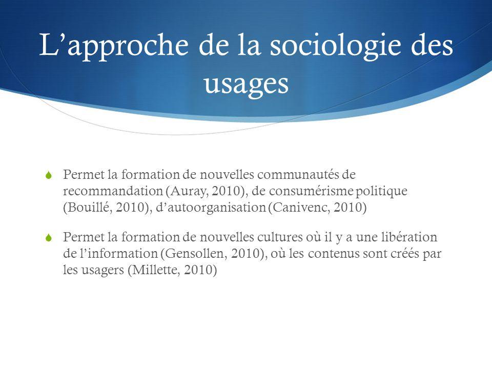 L'approche de la sociologie des usages
