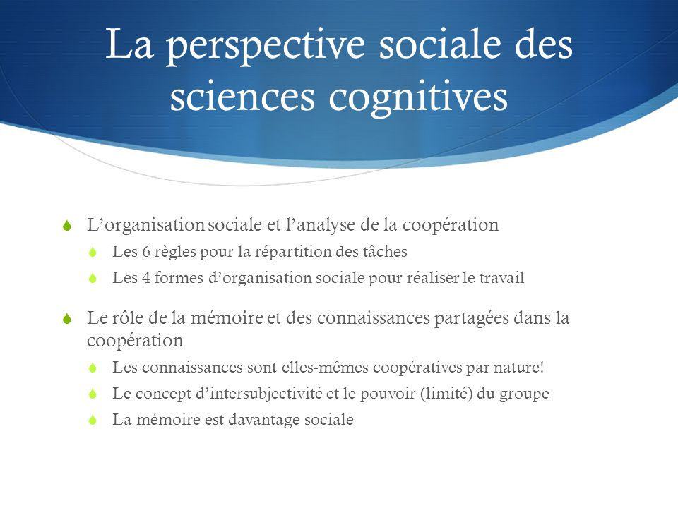 La perspective sociale des sciences cognitives