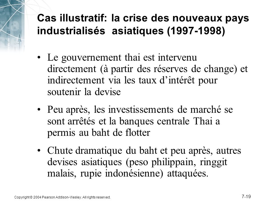 Cas illustratif: la crise des nouveaux pays industrialisés asiatiques (1997-1998)