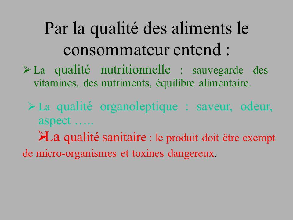 Par la qualité des aliments le consommateur entend :