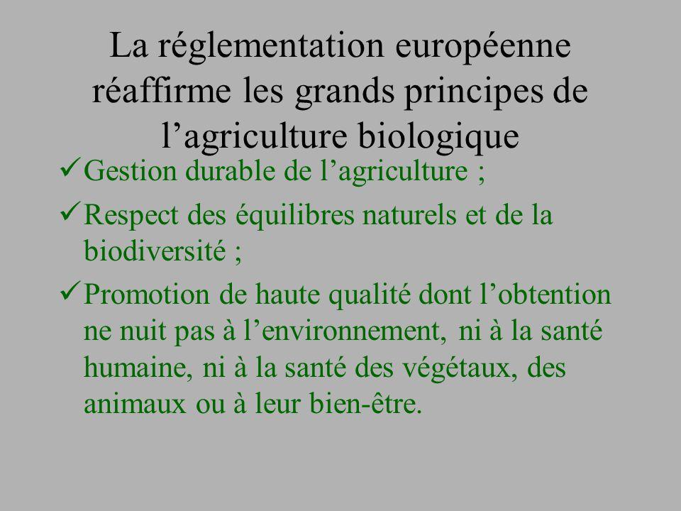 La réglementation européenne réaffirme les grands principes de l'agriculture biologique