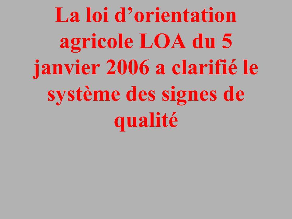 La loi d'orientation agricole LOA du 5 janvier 2006 a clarifié le système des signes de qualité