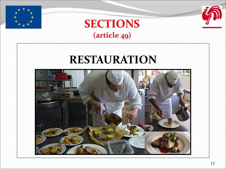 SECTIONS (article 49) RESTAURATION