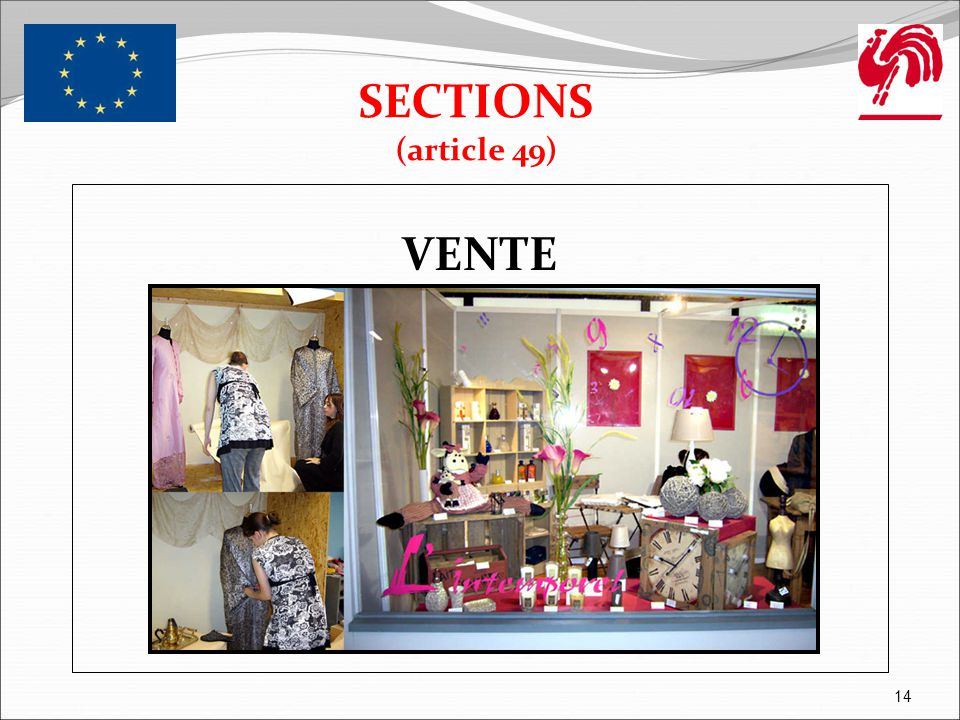 SECTIONS (article 49) VENTE