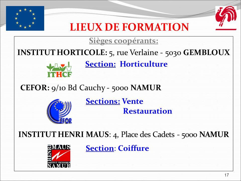 LIEUX DE FORMATION