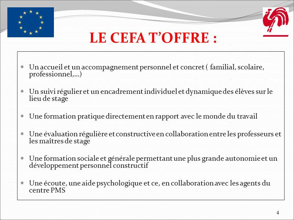 LE CEFA T'OFFRE : Un accueil et un accompagnement personnel et concret ( familial, scolaire, professionnel,…)