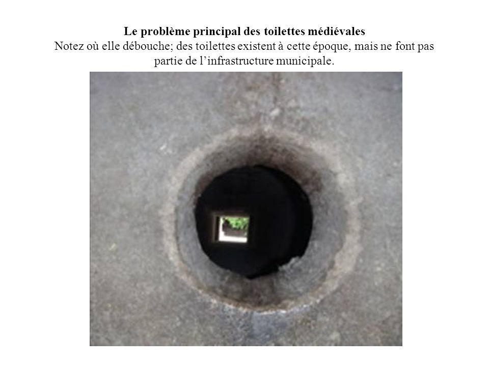 Le problème principal des toilettes médiévales Notez où elle débouche; des toilettes existent à cette époque, mais ne font pas partie de l'infrastructure municipale.