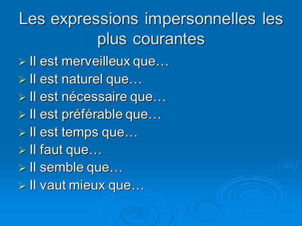 Les expressions impersonnelles les plus courantes