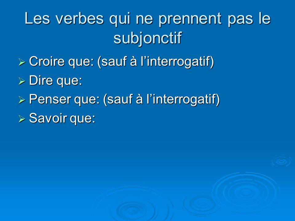Les verbes qui ne prennent pas le subjonctif