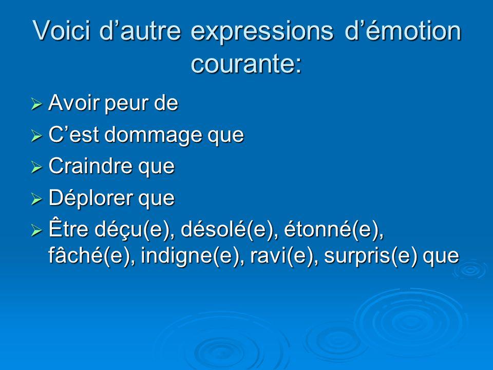 Voici d'autre expressions d'émotion courante: