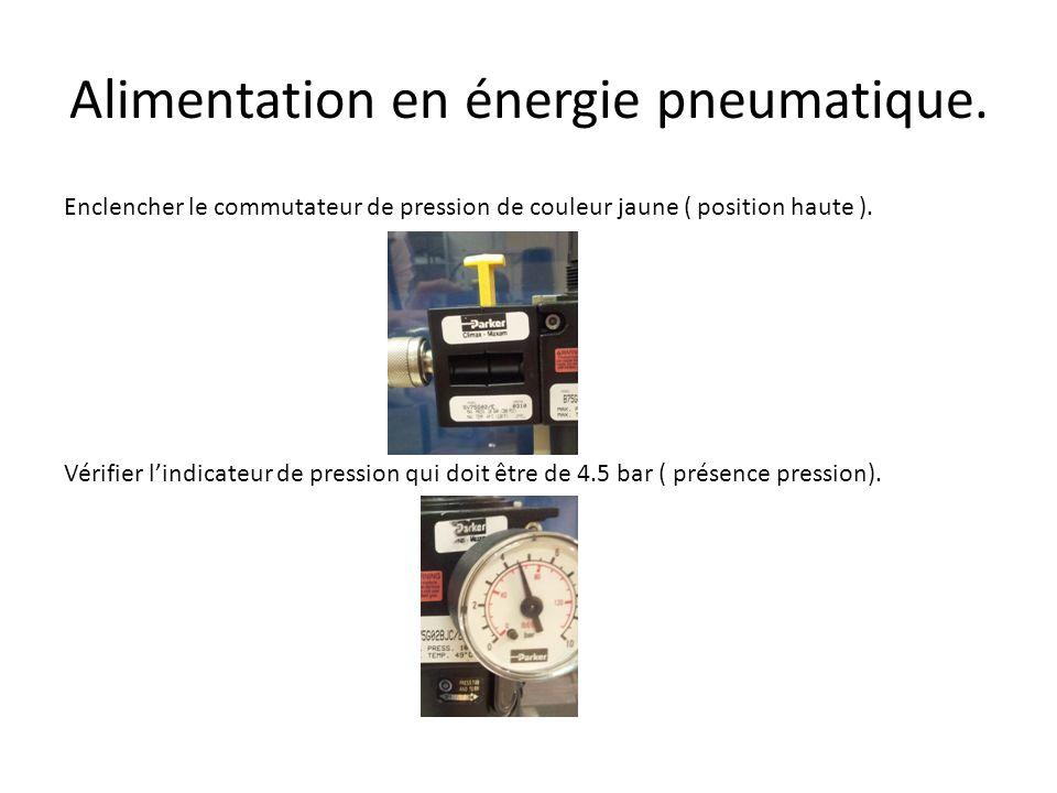 Alimentation en énergie pneumatique.