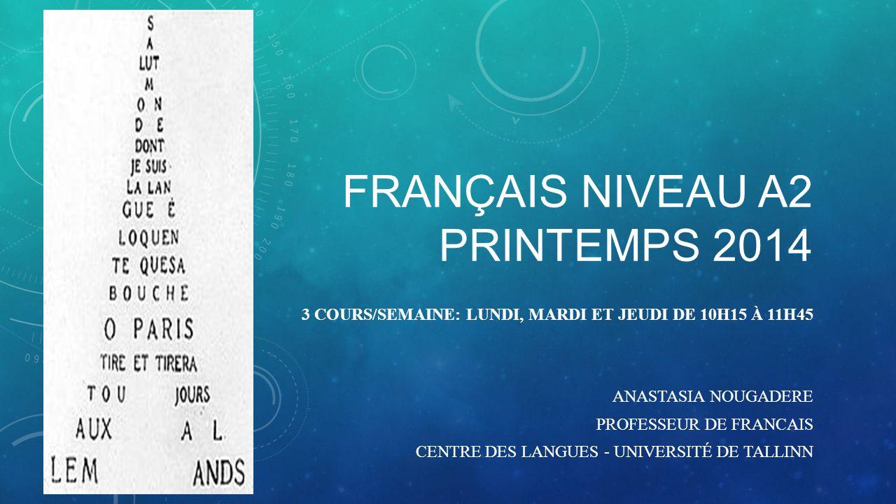 Français niveau a2 printemps 2014
