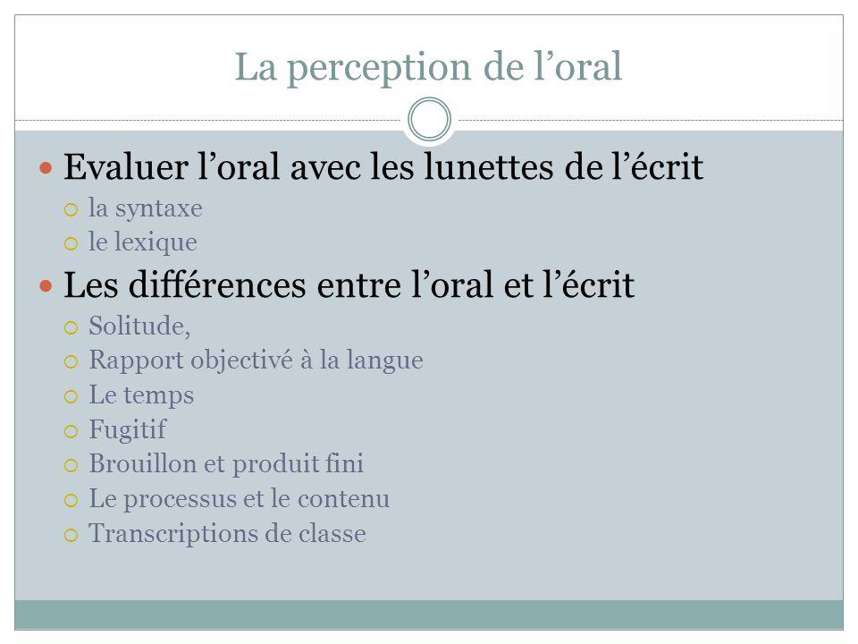 La perception de l'oral
