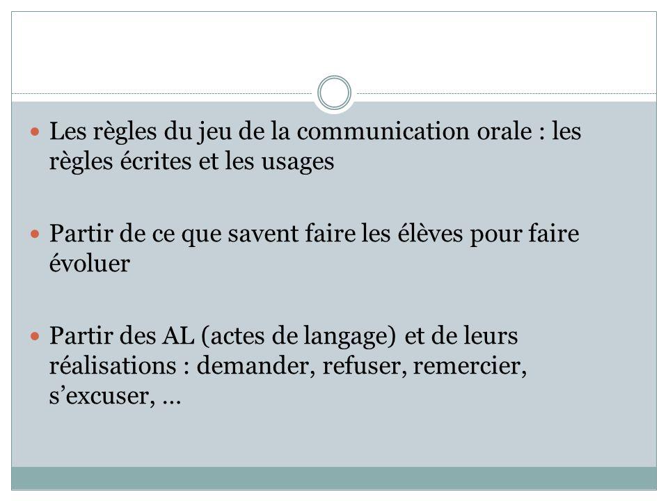 Les règles du jeu de la communication orale : les règles écrites et les usages