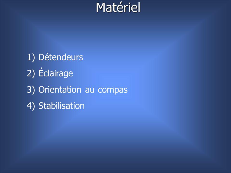 Matériel Détendeurs Éclairage Orientation au compas Stabilisation
