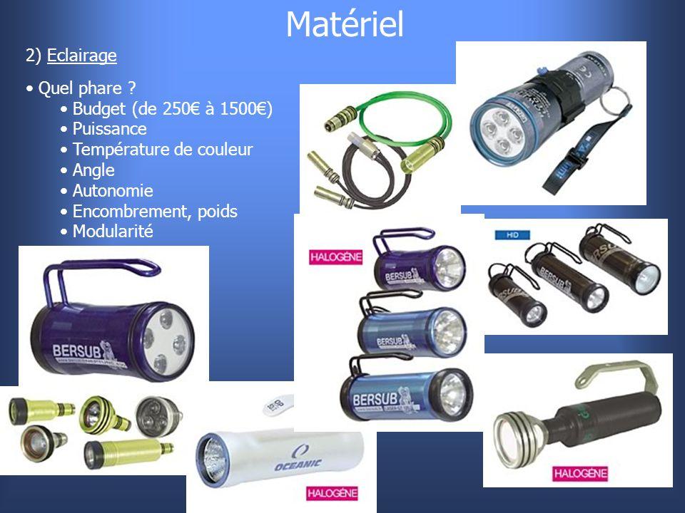 Matériel 2) Eclairage Quel phare Budget (de 250€ à 1500€) Puissance