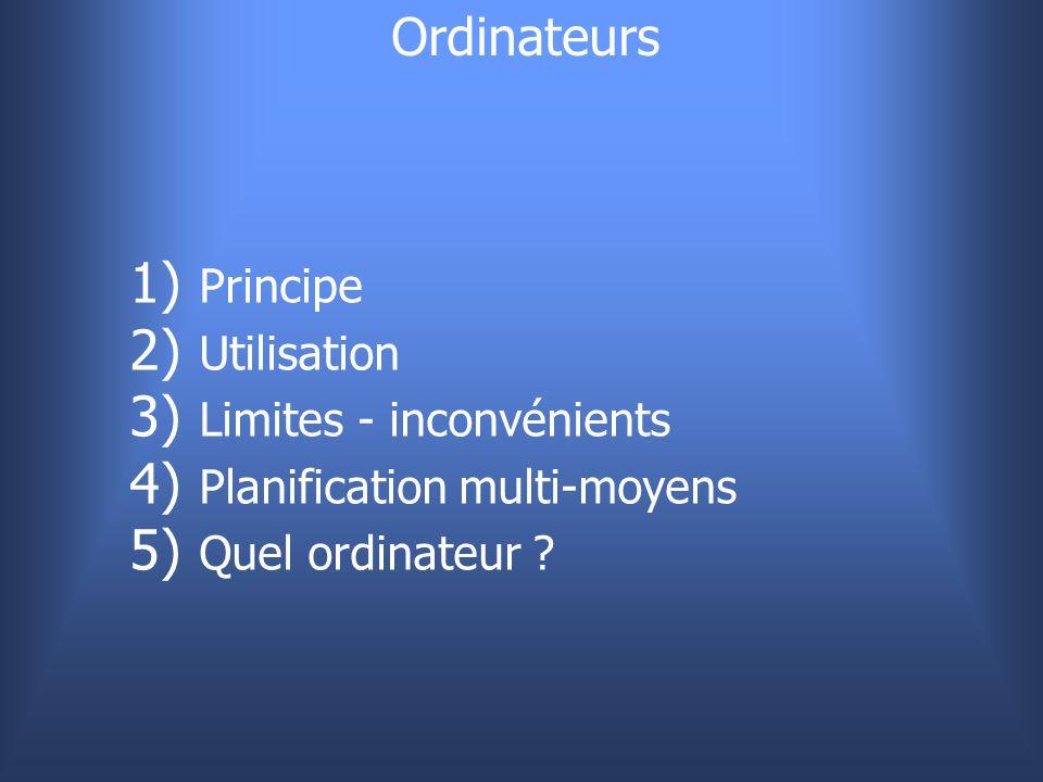 Ordinateurs Principe Utilisation Limites - inconvénients