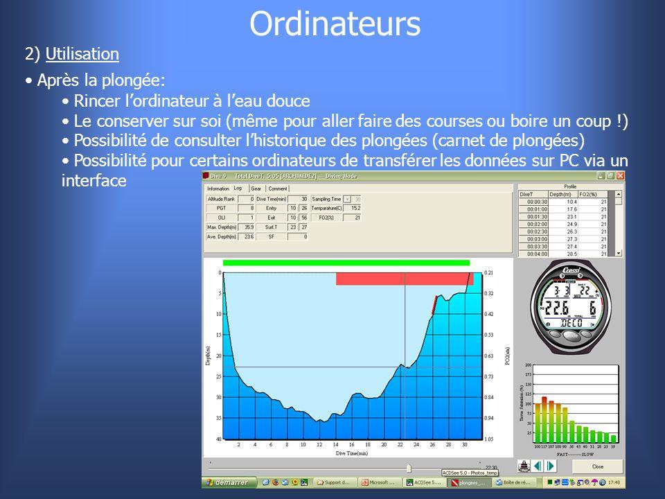 Ordinateurs 2) Utilisation Après la plongée: