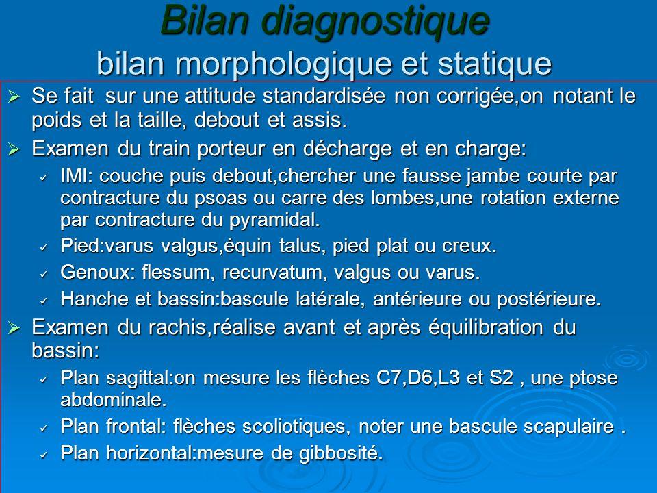 Bilan diagnostique bilan morphologique et statique