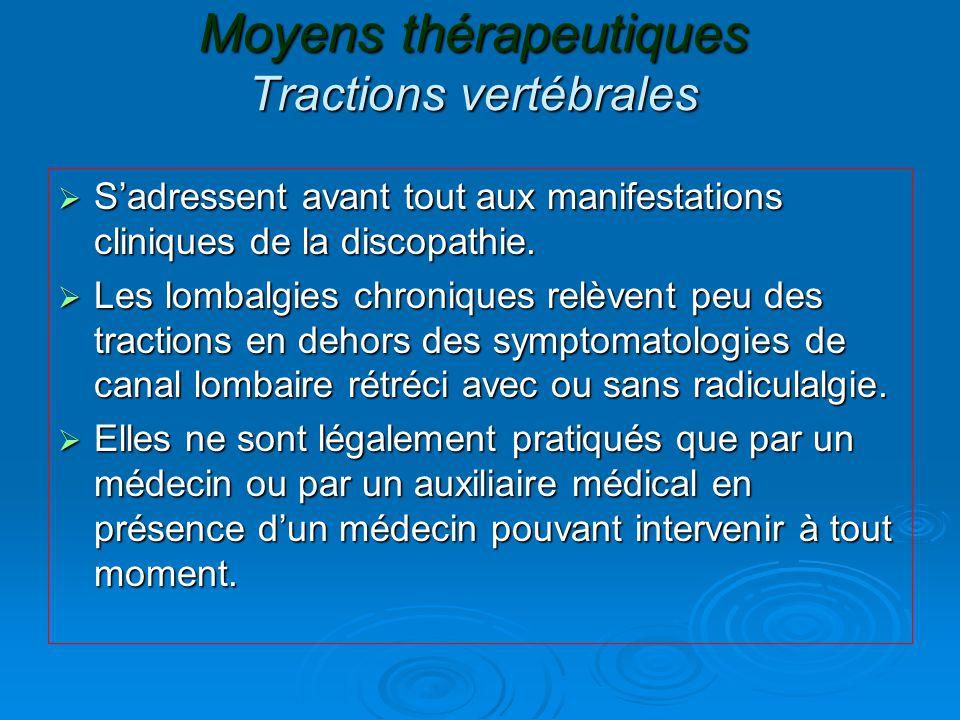 Moyens thérapeutiques Tractions vertébrales