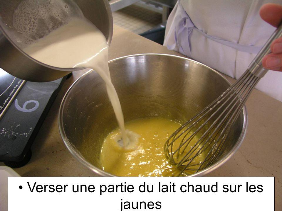 Verser une partie du lait chaud sur les jaunes