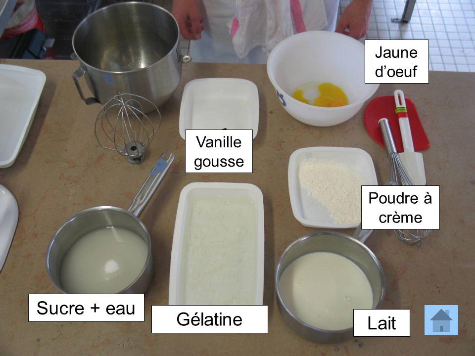 Jaune d'oeuf Vanille gousse Poudre à crème Sucre + eau Gélatine Lait