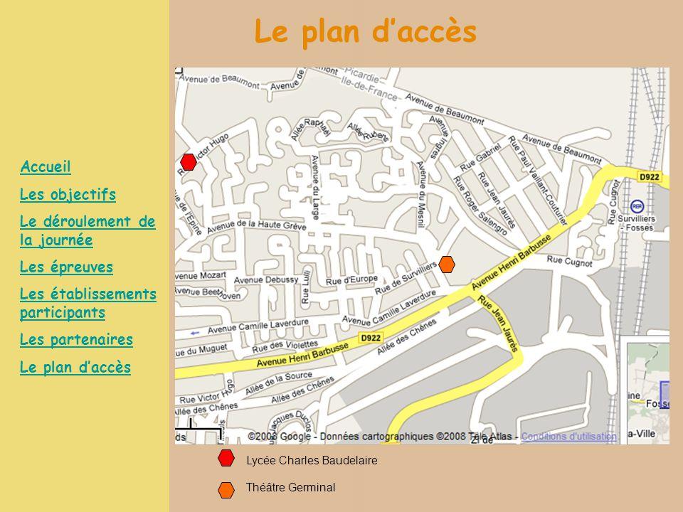 Le plan d'accès Accueil Les objectifs Le déroulement de la journée