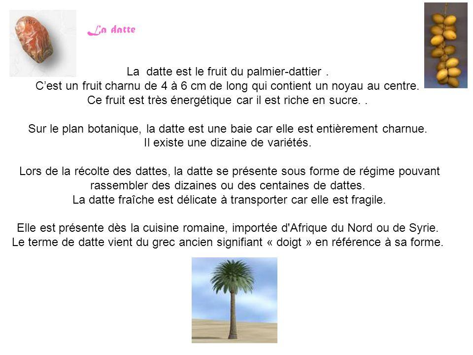 La datte est le fruit du palmier-dattier .