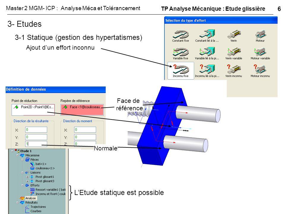 3- Etudes 3-1 Statique (gestion des hypertatismes)