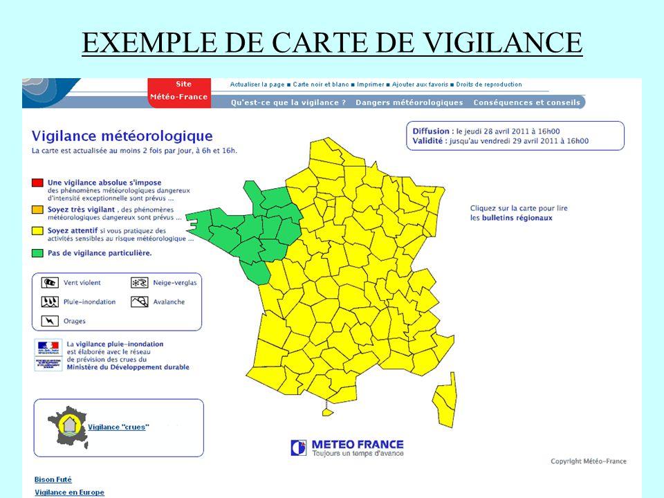 EXEMPLE DE CARTE DE VIGILANCE
