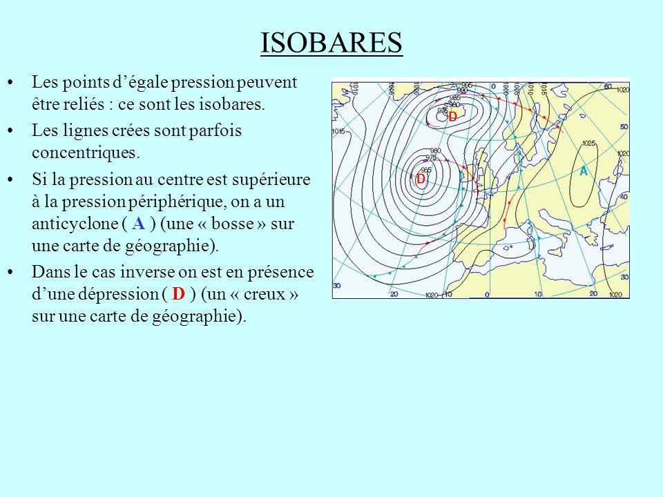 ISOBARES Les points d'égale pression peuvent être reliés : ce sont les isobares. Les lignes crées sont parfois concentriques.