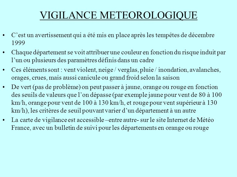 VIGILANCE METEOROLOGIQUE