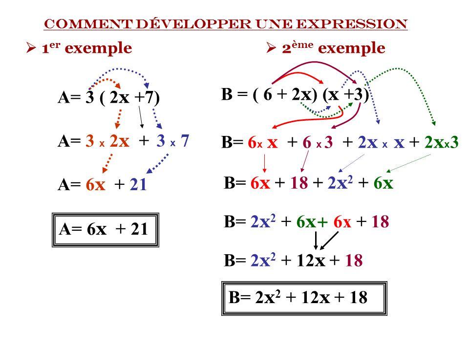 A= 3 ( 2x +7) B = ( 6 + 2x) (x +3) A= 3 x 2x + 3 x 7 B= 6x x + 6 x 3